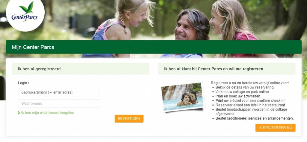 Overzicht pagina Mijn Center Parcs waar u kunt inloggen met een bestaand account of een nieuw gebruikersaccount kunt aanmaken.