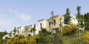 Aanzicht cottages vakantiepark van Center Parcs in Duitsland
