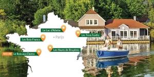 Topokaart van Frankrijk met daarop aangegeven de locaties van Center Parcs parken in Frankrijk