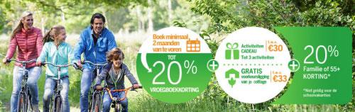 20% Familiekorting bij Center Parcs, mag gecombineerd worden met vroegboekkorting