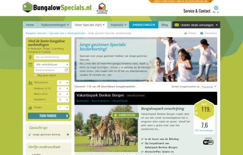 Jonge gezinnen korting via BungalowSpecials.nl
