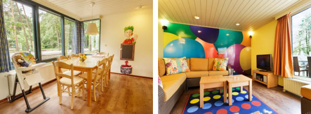 Interieur kindercottages bij Center Parcs