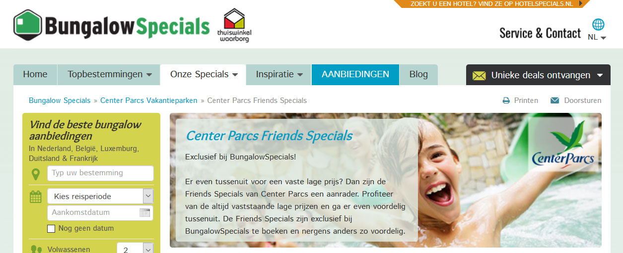 Center Parcs Friends Specials