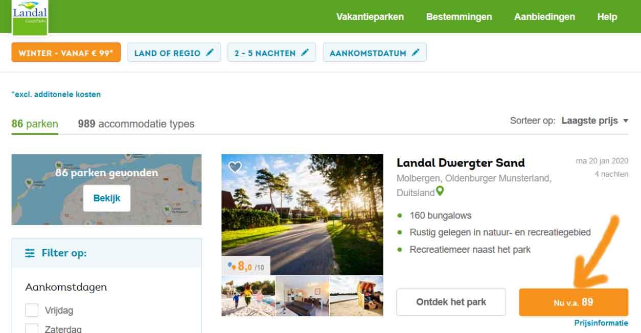 Bij 5 Landal parken kun je nog voordeliger je vakantie boeken, vanaf slechts € 89*