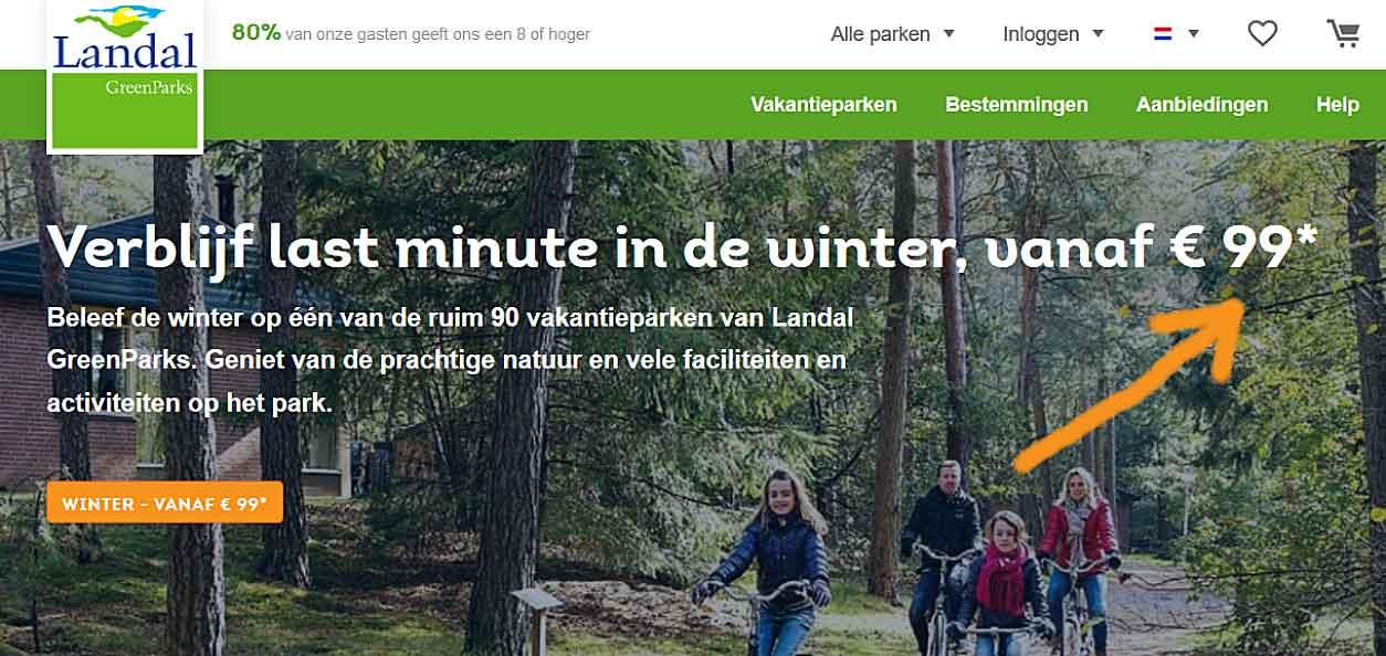 De actiepagina van de speciale € 99* aanbieding van Landal GreenParks