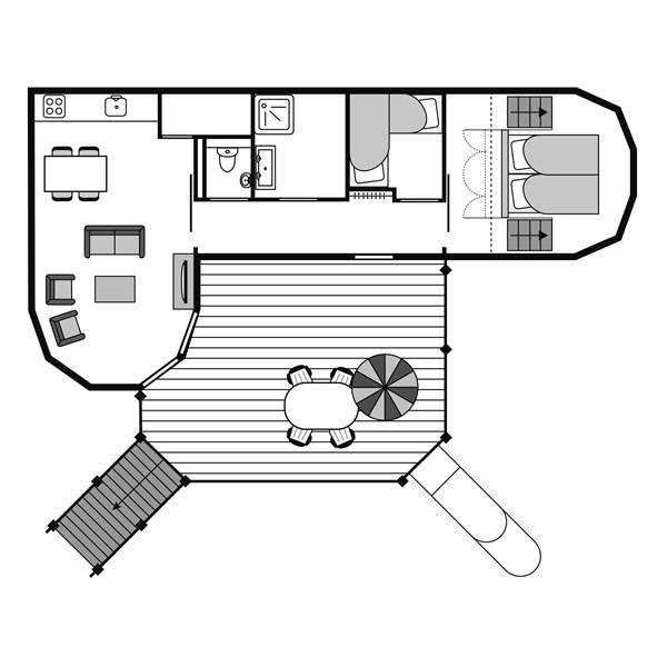 Plattegrond boomhut Landal Miggelenberg 4CTH 4-persoons boomwoning