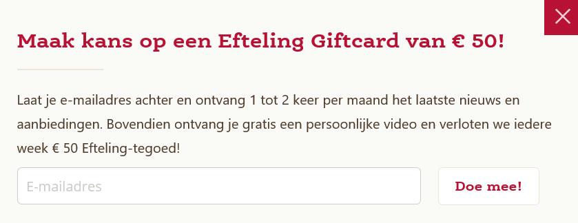"""Het popupscherm met daarin de melding: """"Maak kans op een Efteling Giftcard van € 50!"""""""