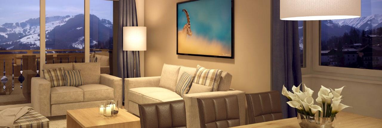 De appartementen van Landal Resort Maria Alm zijn luxe ingericht met o.a. infraroodsauna, overdekt terras en gratis Wifi