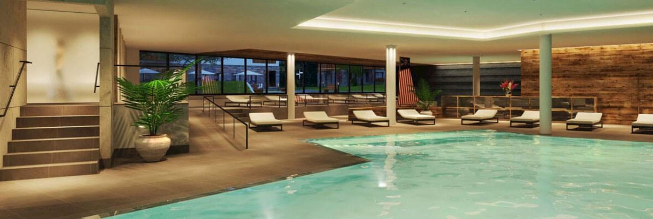 Het luxe binnenzwembad van Landal Resort Maria Alm met verwarmd water, massagebanken, bruisbad en Beauty & Wellness centrum