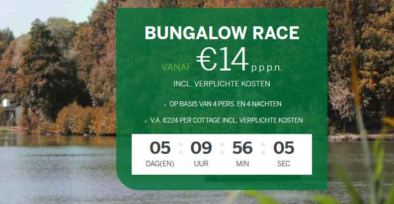De aftelklok wordt weer weergegeven op de Bungalow Race Actiepagina van Center Parcs