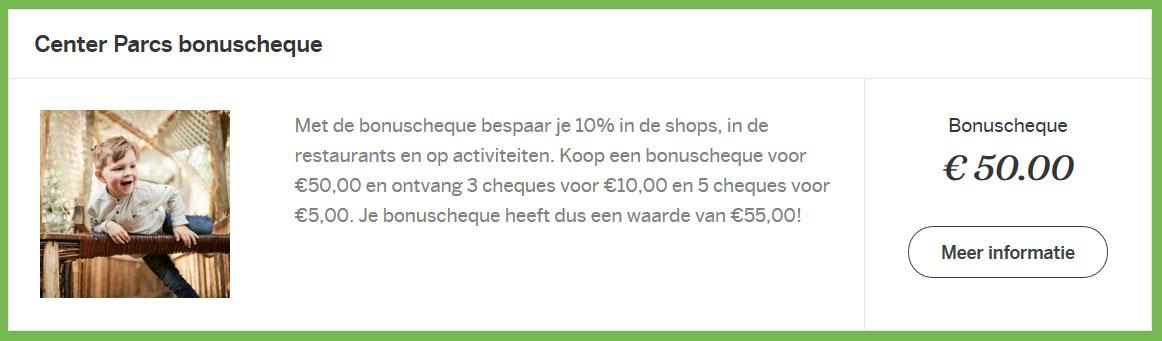 Center Parcs Bonuscheque: 10% Korting bij shops, restaurants en activiteiten
