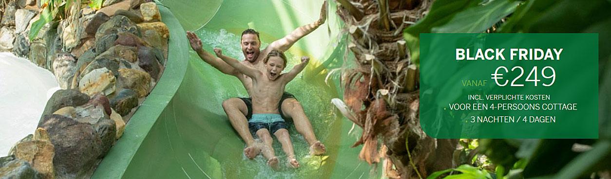 Via de Center Parcs Black Friday aanbieding krijg je tot wel 50% korting op je vakantie. Lekker subtropisch genieten tijdens je vakantie in het subtropisch zwemparadijs Aqua Mundo