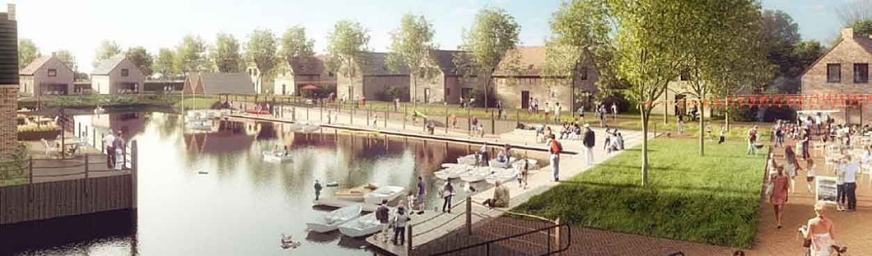 Ook de centrale voorzieningen liggen heel mooi. De waterpartijen staan centraal op dit park. Zo ook de waterpartij bij de centrale voorzieningen waar de bootjes liggen.