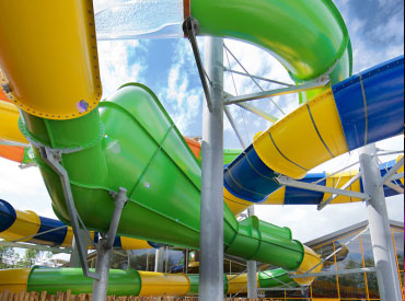 Waterpark Aqua Mexicana heeft maar liefst 500 meter aan glijbanen, in totaal zijn er 10 glijbanen