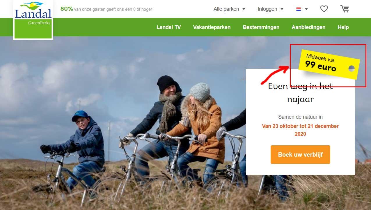 Landal vanaf € 99 aanbieding voor super voordelige vakantie