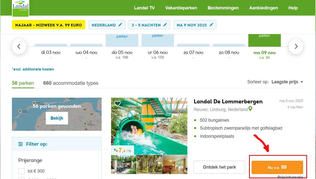 Landal parken in Nederland met verblijf vanaf € 99*