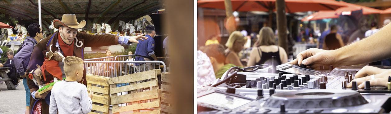 De Wild West Nights bij Slagharen zijn gezellige Wilde Westen avonden met o.a. een grillbuffet, cowboy (foto links), DJ (foto rechts)