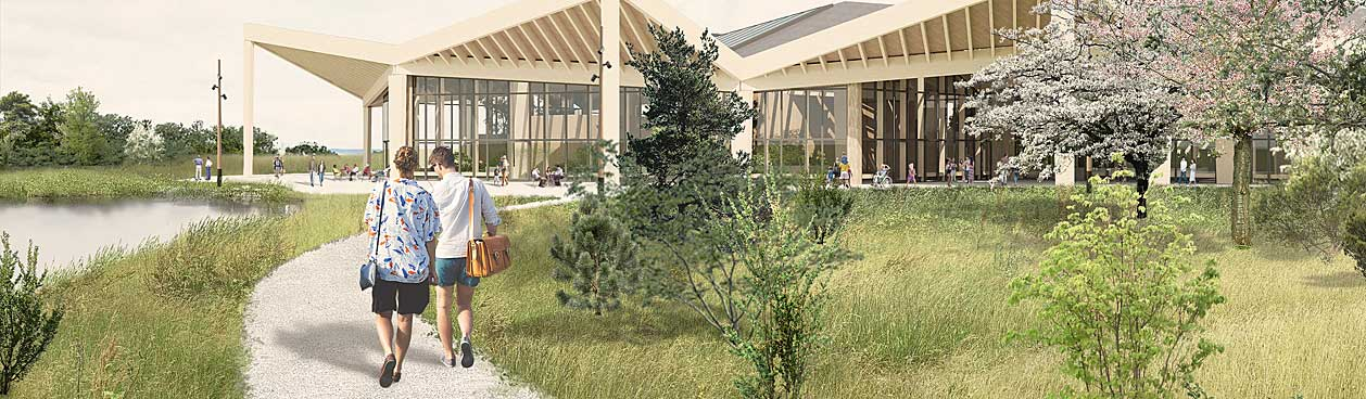 Centrumgebouw op het nieuwe Center Parcs vakantiepark Als in Denemarken